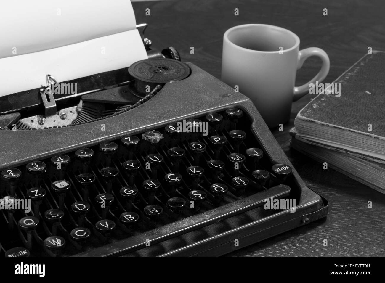 typewriter paper and coffee - Stock Image