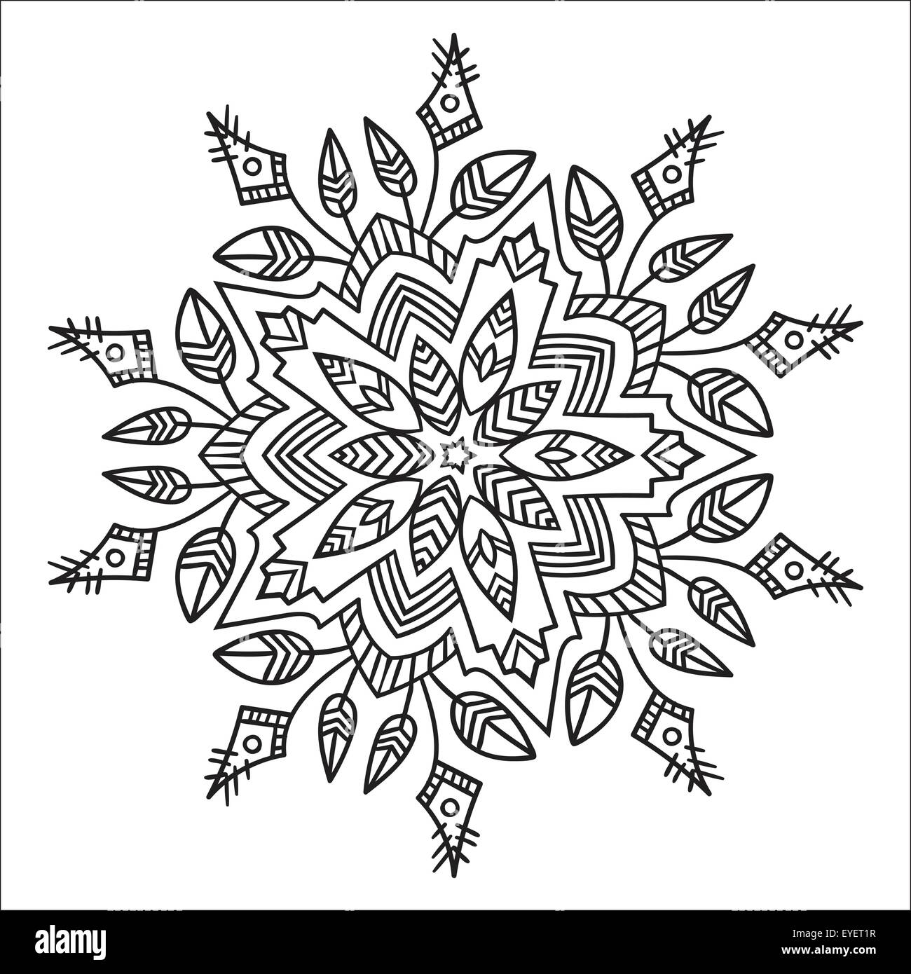 Hand drawing zentangle element black and white flower mandala vector illustration the