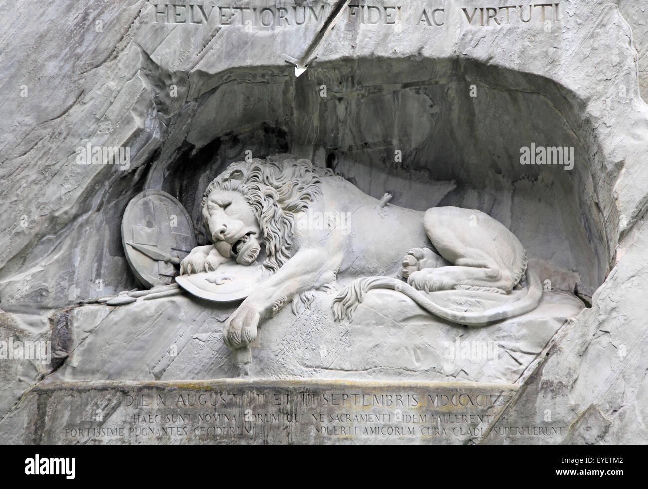 Dying Lion monument, Lucerne, Switzerland - Stock Image