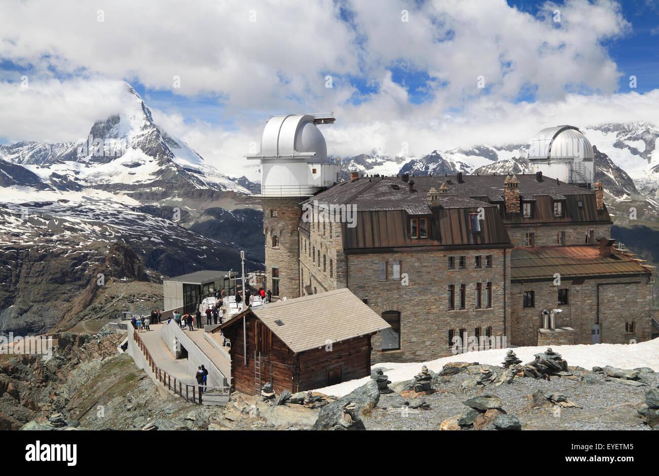 Panoramic view of Matterhorn peak from Gornergrat Mountain, Switzerland - Stock Image