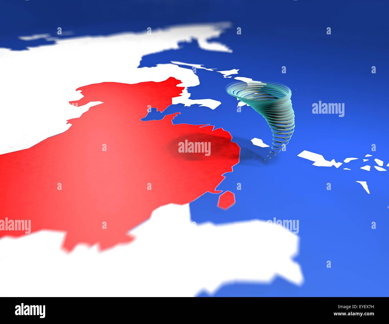 Warning: typhoon in the South China sea, Usagi China map alarm - Stock Image
