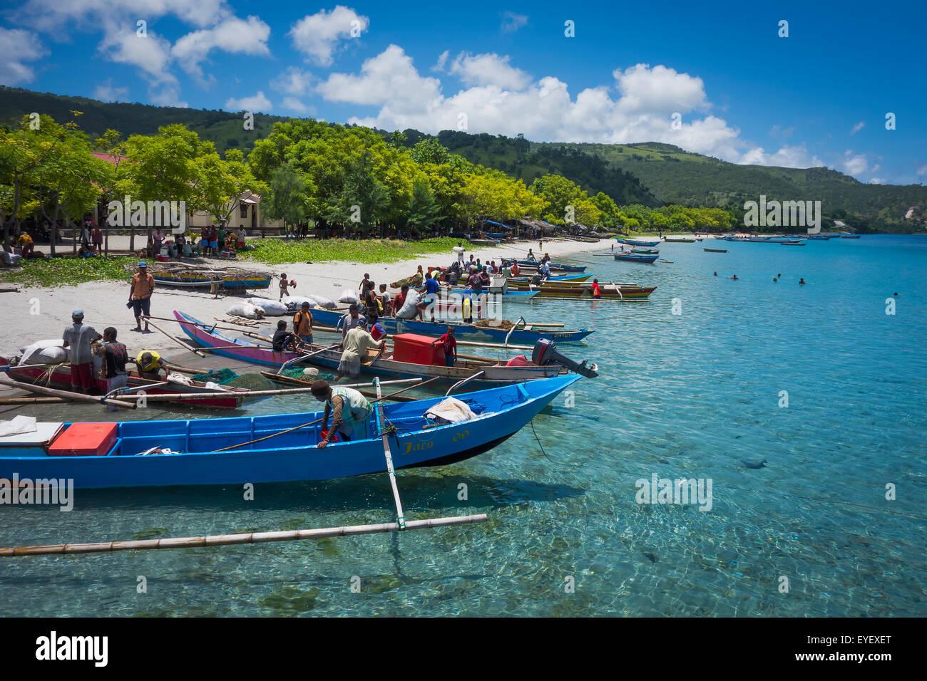 Boats lined up along the shore of Atauro Island beach; Atauro Island, Timor-Leste Stock Photo