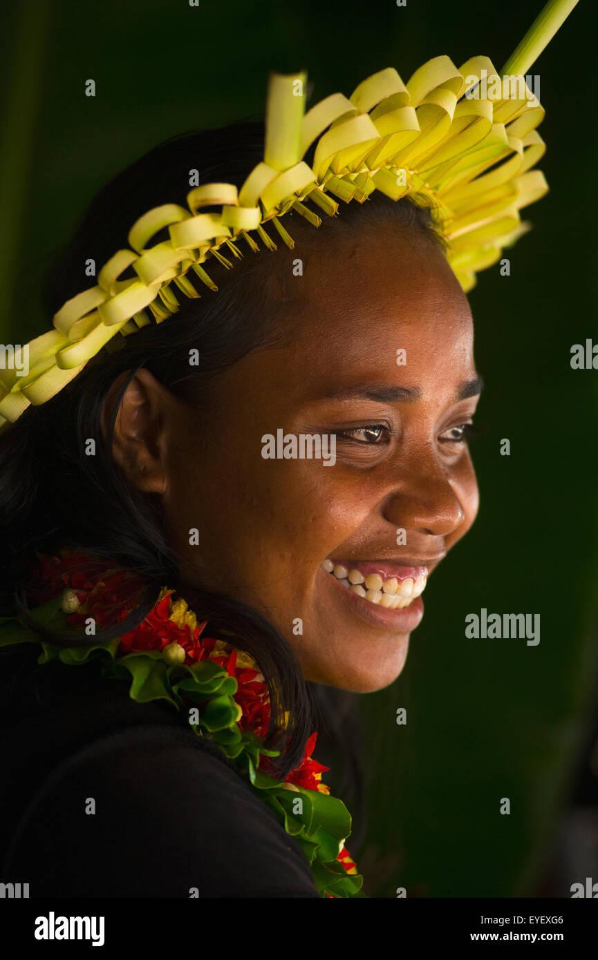 Young Kiribati woman in traditional dress; Kiribati Islands - Stock Image