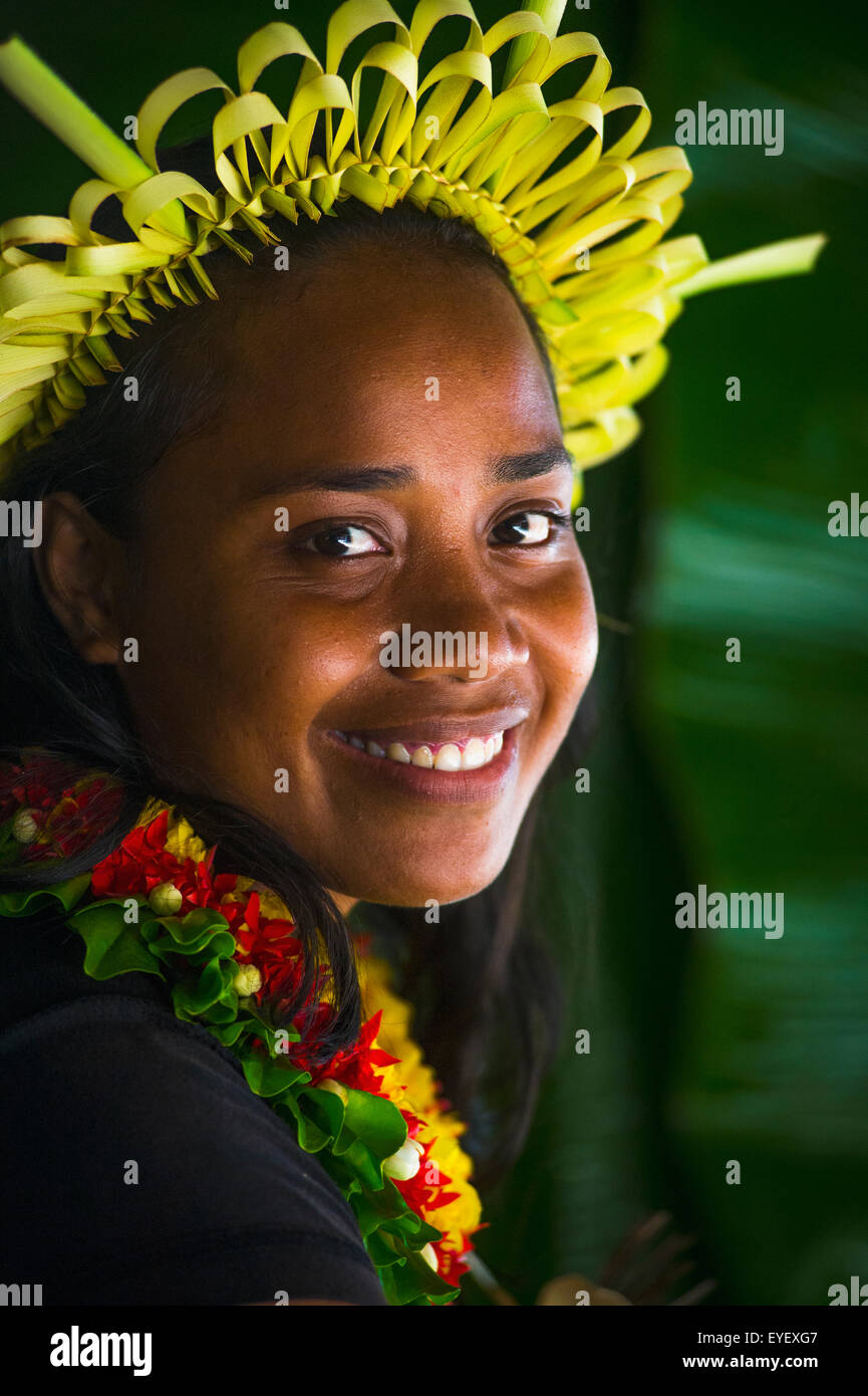 Young Kiribati woman in traditional dress; Kiribati Islands Stock Photo