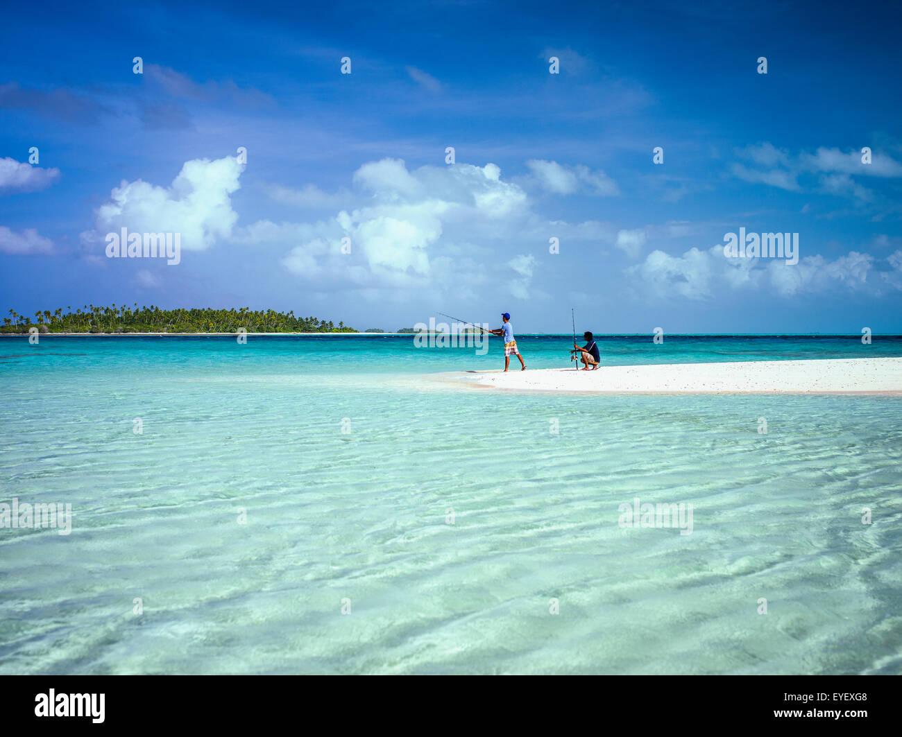 Fishing on an atoll; Kiribati Islands - Stock Image