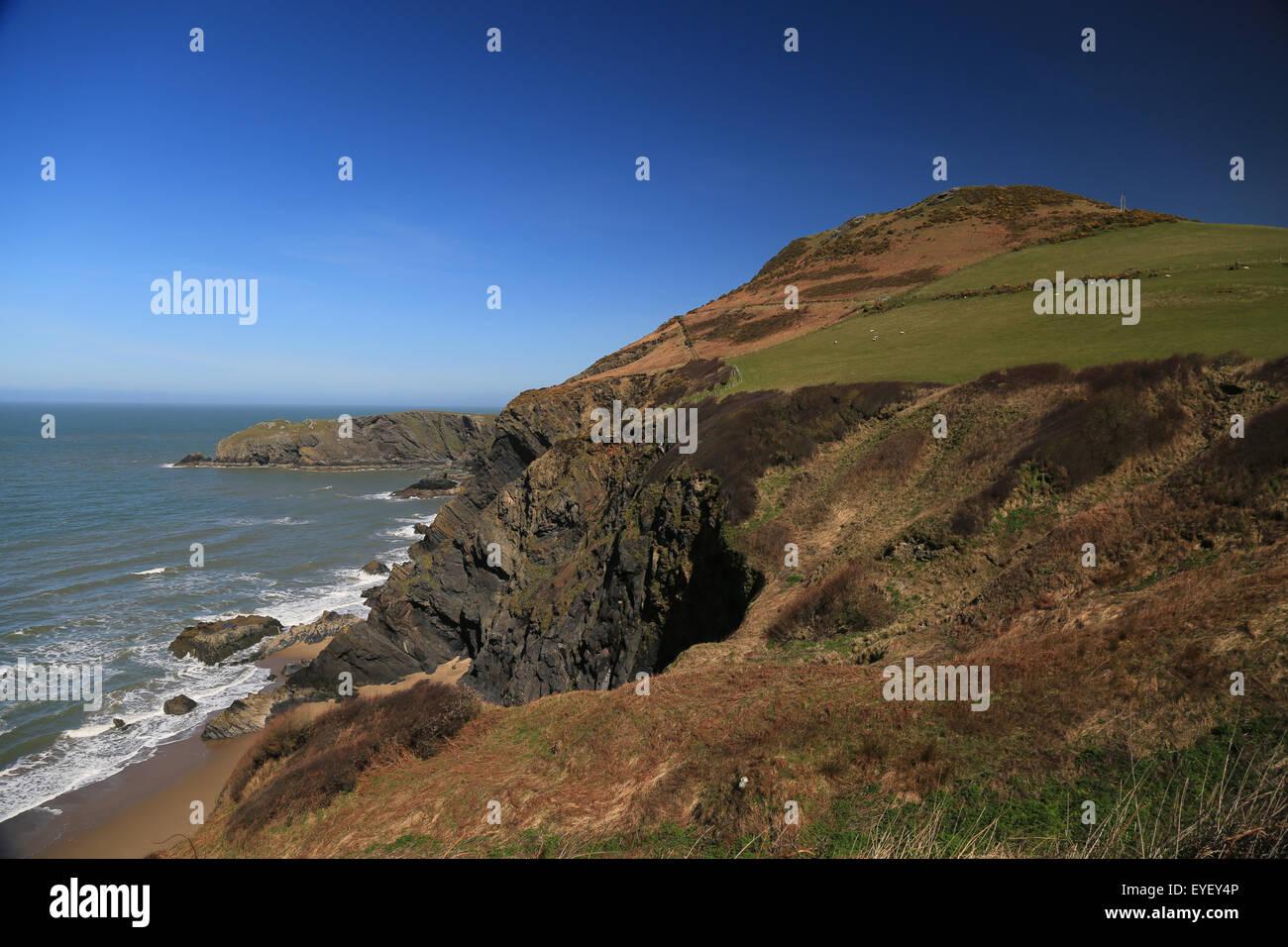 Cardigan Bay, Wales, Coast Path View - Stock Image