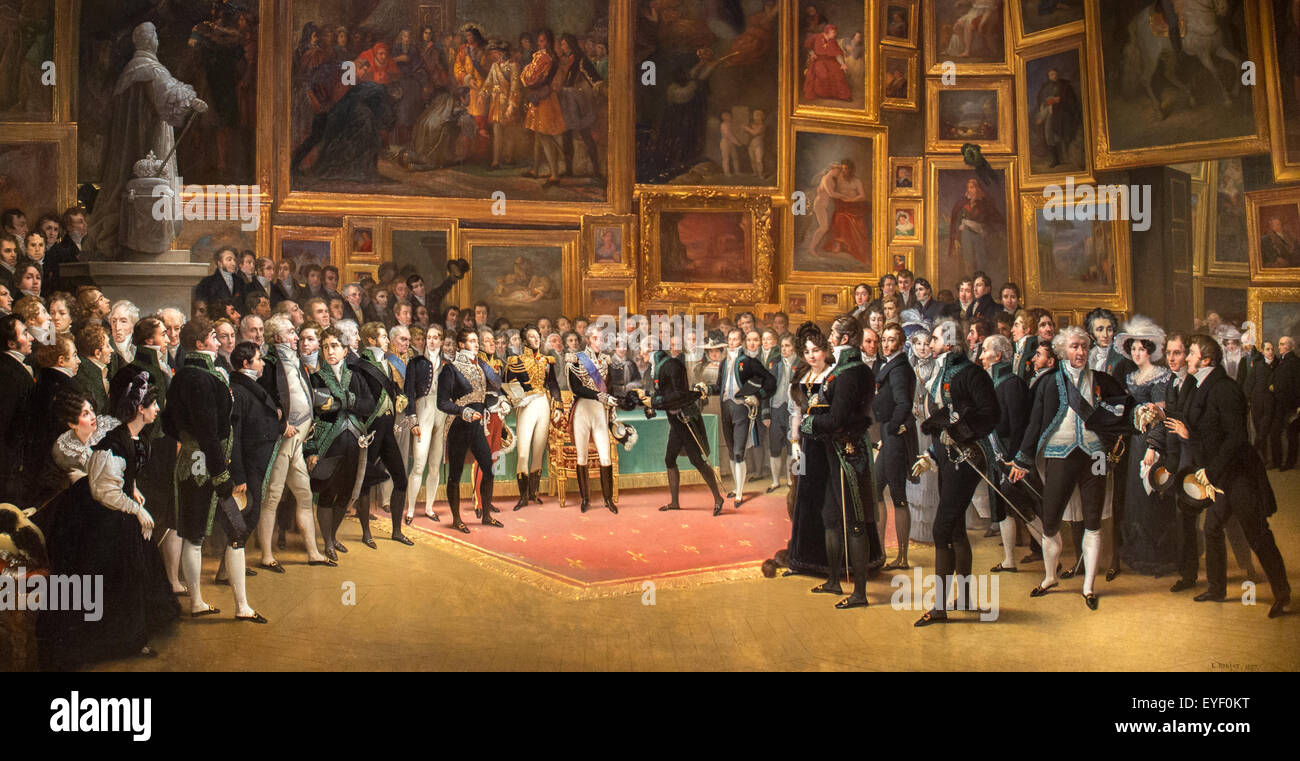 Charles X distributing awards to the artists at the end of 1524 show, January 15, 1825, according to Francois-Joseph - Stock Image
