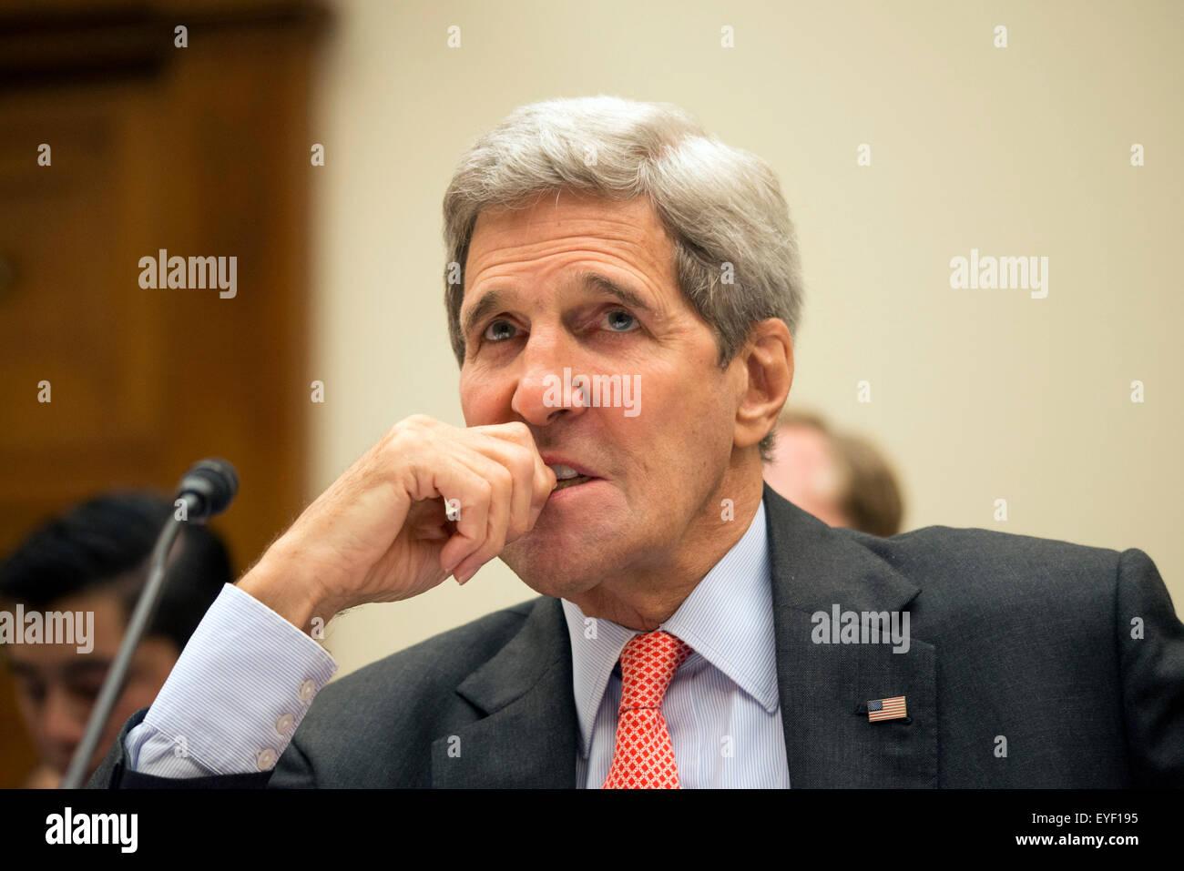 Washington, DC, USA. 28th July, 2015. Secretary of State John Kerry along with Ernest Montz, Sec of Energy and Jacob Stock Photo