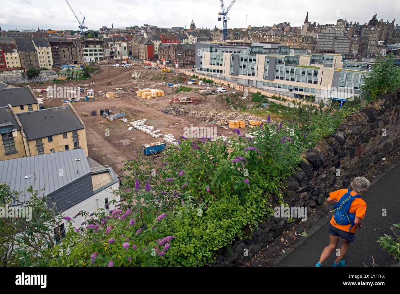 The Caltongate site in Edinburgh's Old Town where work is just beginning on a controversial £150m redevelopment - Stock Image