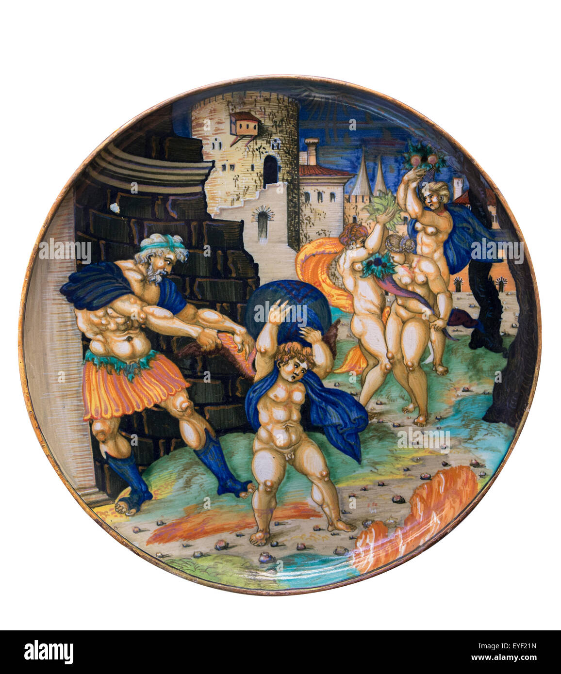 Dish, A political allegory. Inscribed by Guilio da Urbino 1534, probably painted in Urbino, by a close follower - Stock Image
