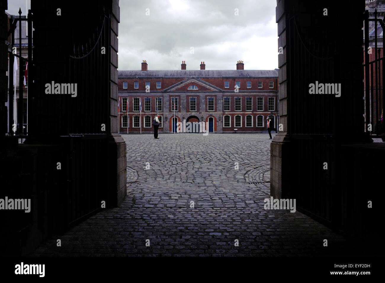 A view of the Dublin Castle State Apartments seen through an entrance archway. - Stock Image