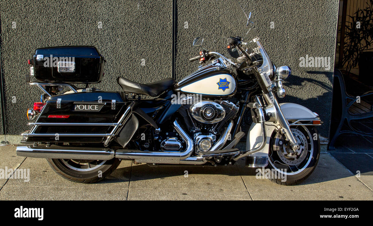 San Francisco Police Harley- Davidson motorcycle parked on Vallejo