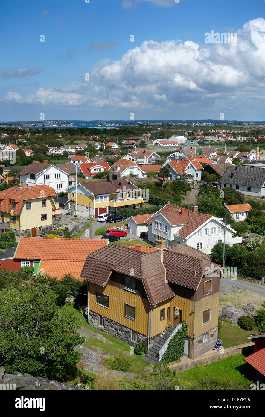 Hönö island. View toward NNE over settlement and residential cottages.  Northern Gothenburg archipelago, - Stock Image