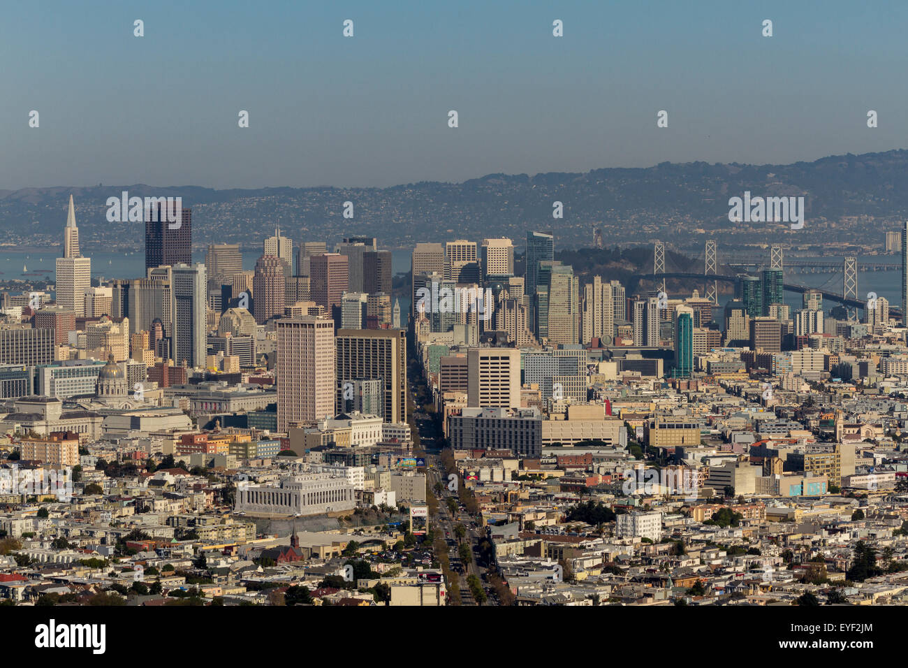 The City Of San Francisco from Twin Peaks, high above The City giving  tremendous views of the city , San Francisco Stock Photo