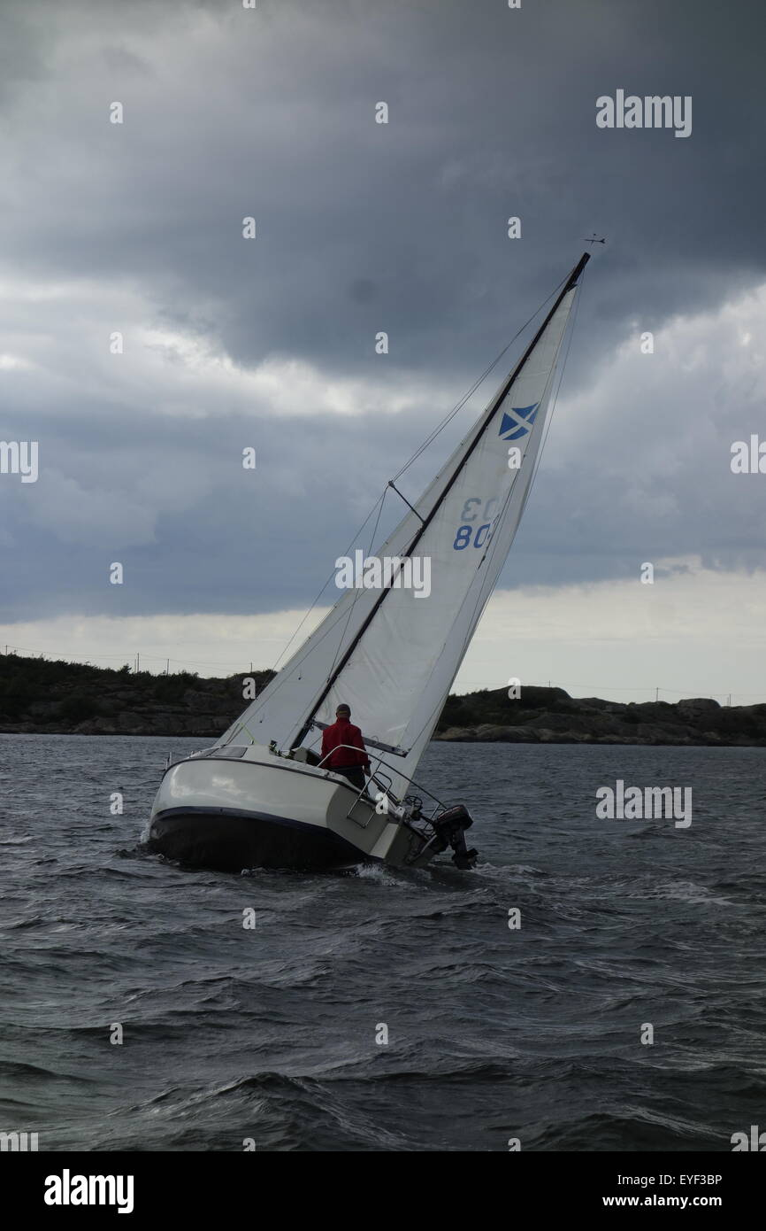 A man single handed sails Maxi 77 sailboat in the  sea of Bohuslan. Sweden - Stock Image