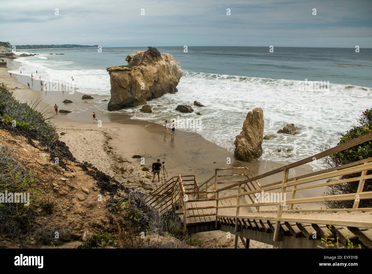 The staircase down to Matador Beach - Malibu Stock Photo