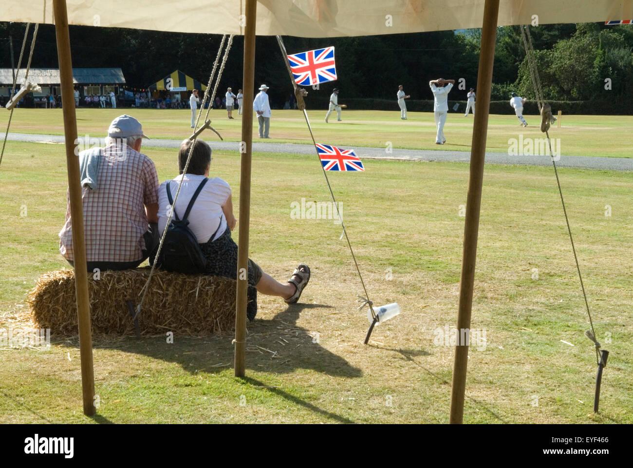 Ebernoe village Common. Annual cricket match on  Common, Ebernoe CC versus Wessrx Pilgrims CC. HOMER SYKES - Stock Image