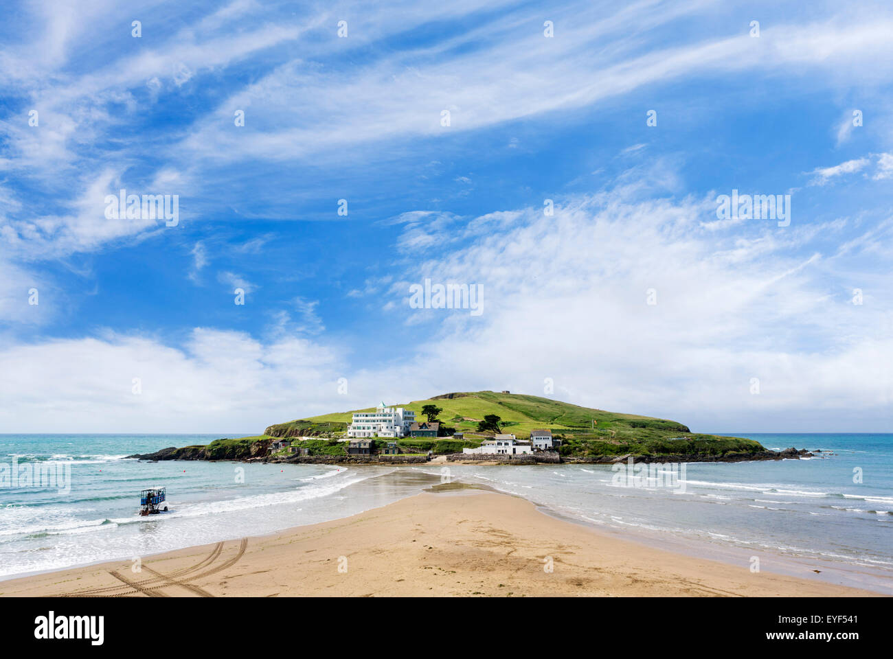 The Burgh Island Hotel and Pilchard Inn with the sea tractor in the foreground, Burgh Island, Bigbury-on-Sea, Devon, - Stock Image