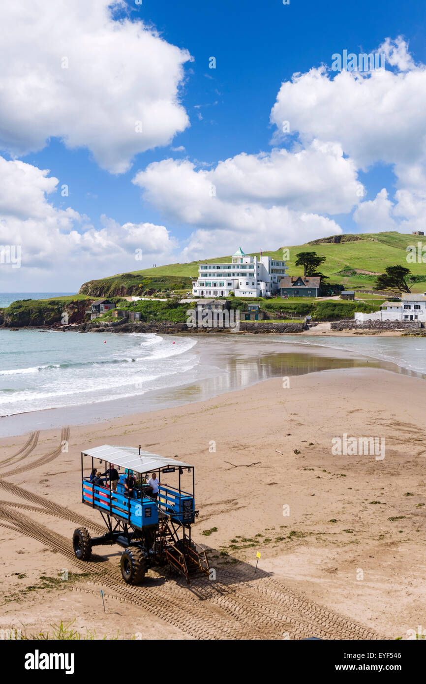Burgh Island Hotel with sea tractor used to cross at high tide in foreground, Burgh Island, Bigbury-on-Sea, Devon, - Stock Image