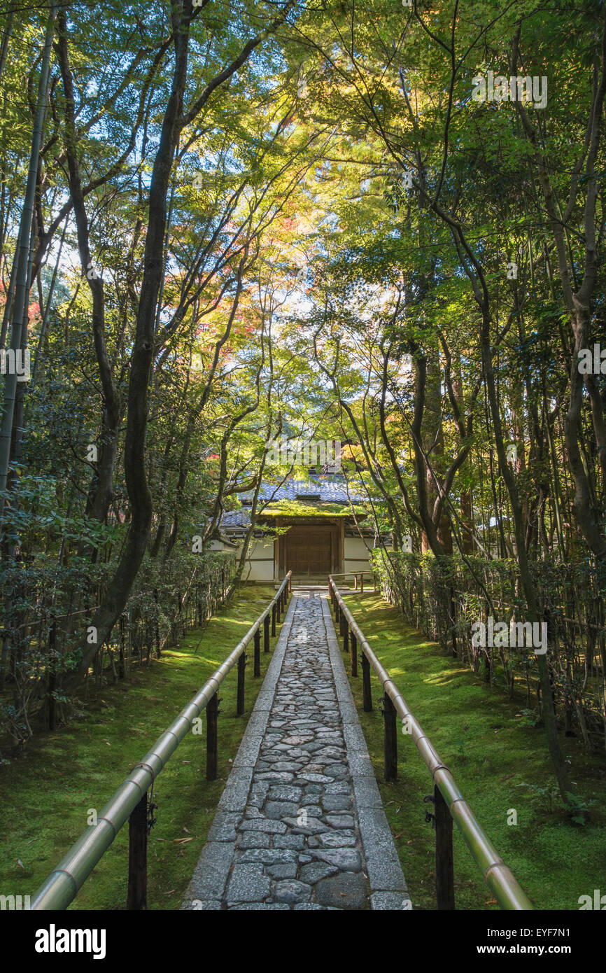 Long stone pathway through the trees leading to a Japanese temple gate; Kyoto, Japan - Stock Image