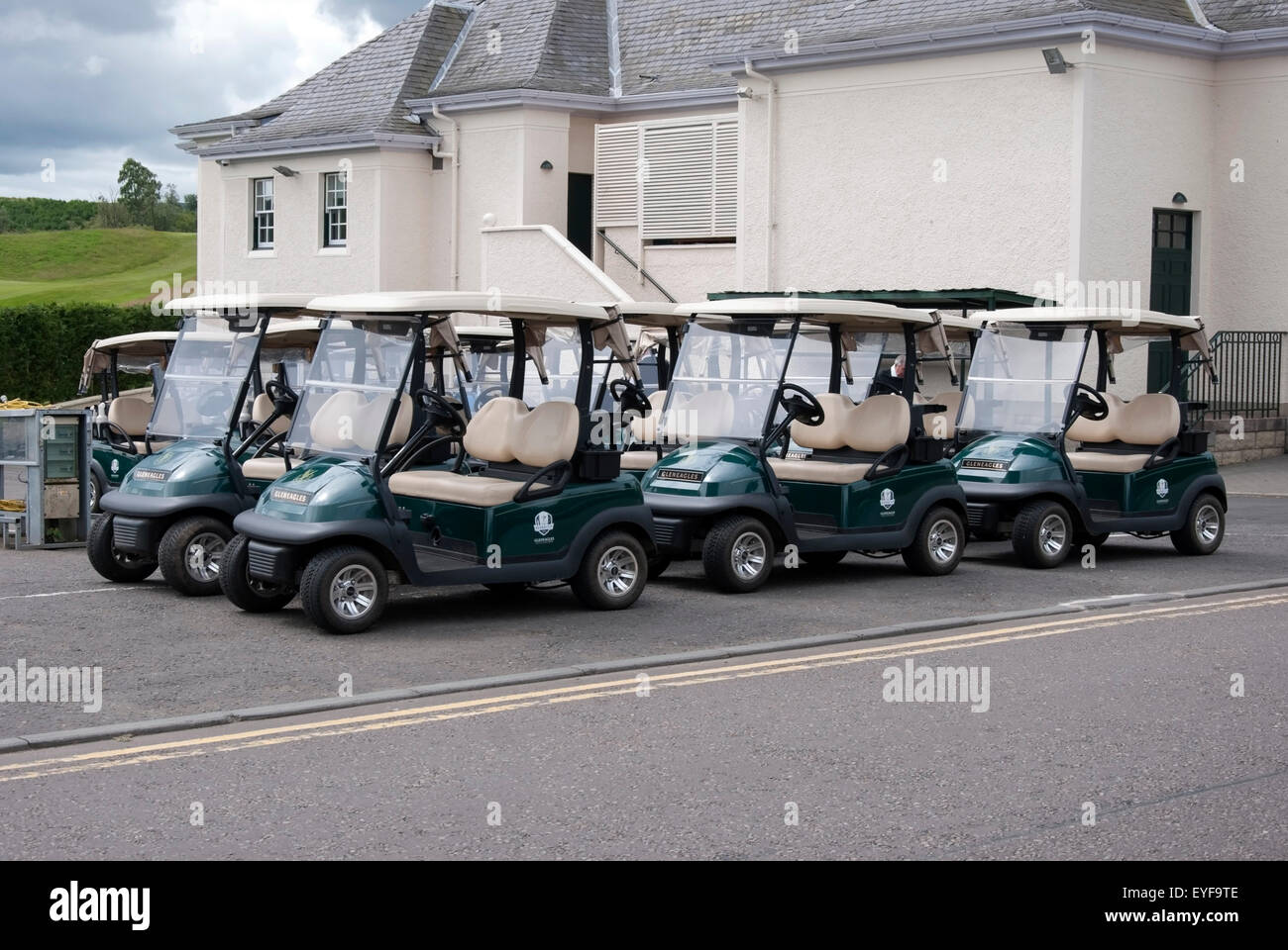 Golf Carts Parked at The Dormy Clubhouse Gleneagles - Stock Image