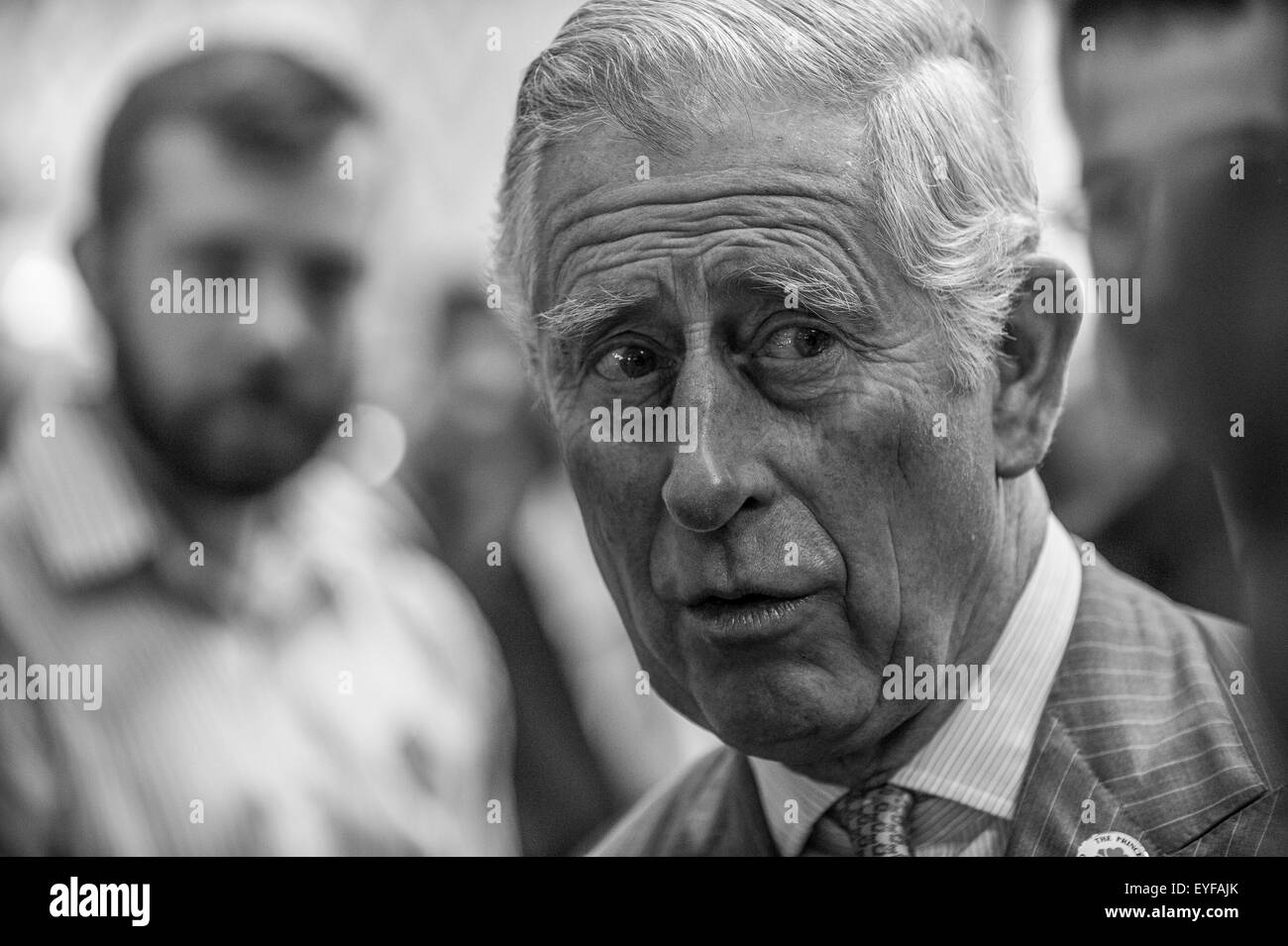 His Royal Highness The Prince of Wales visits Gloucester Services on the southbound M5 Motorway in Gloucestershire. - Stock Image