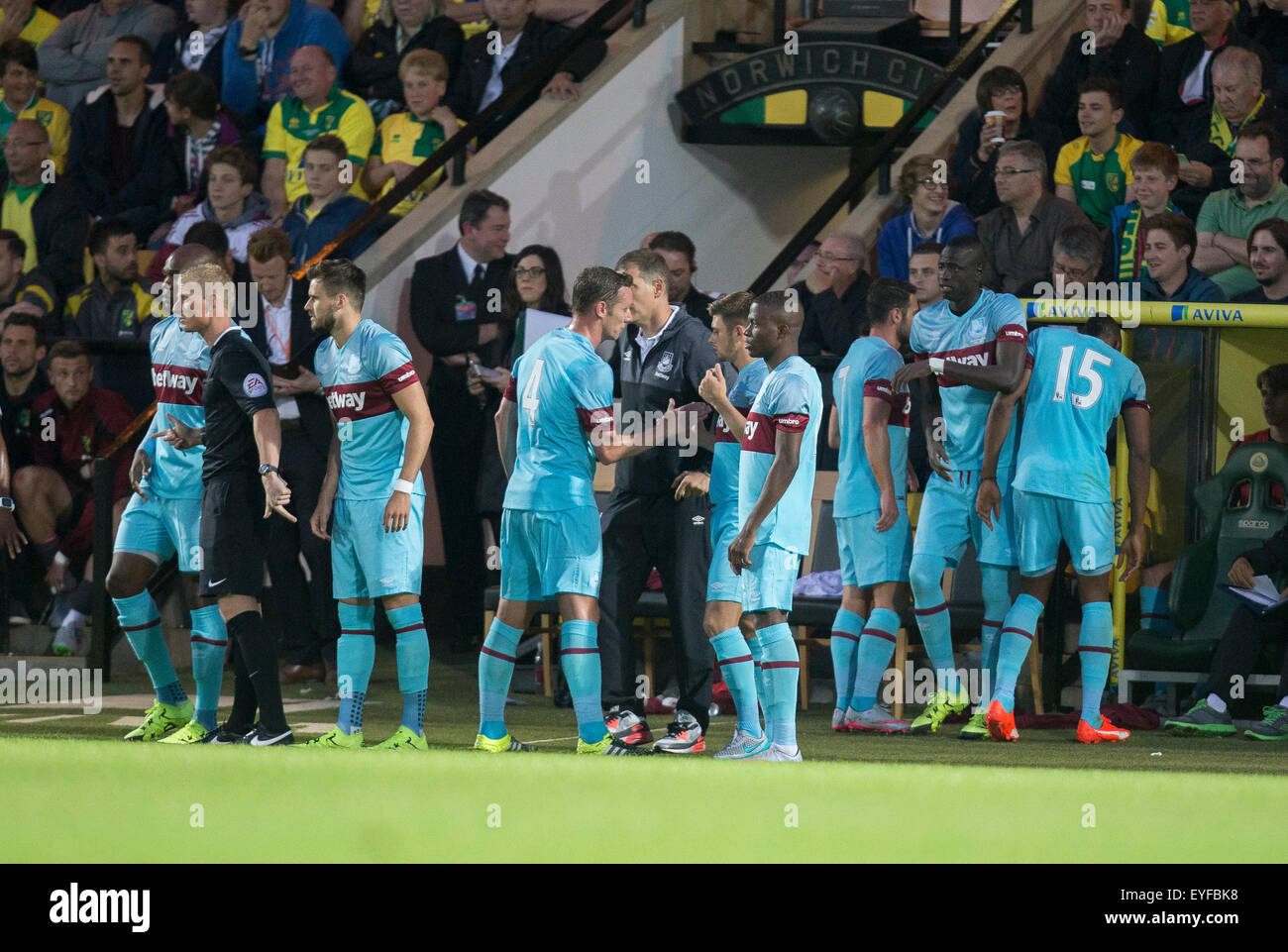 Norwich, UK. 28th July, 2015. Pre Season Friendly between Norwich City and West Ham United. West Ham make 9 substitutions - Stock Image