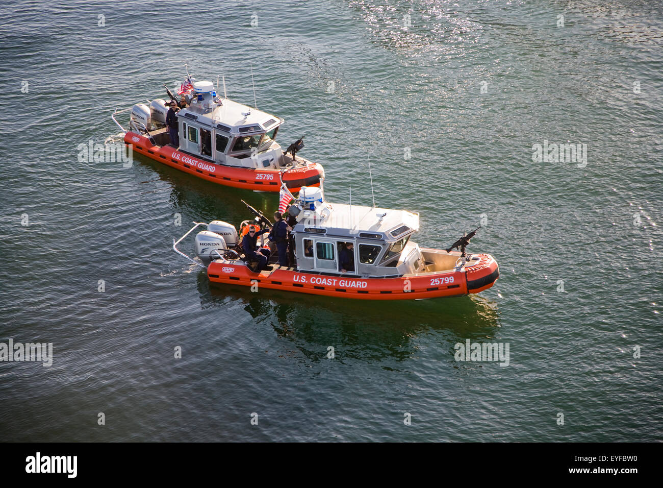 Homeland Security chase vessels aerial - Stock Image