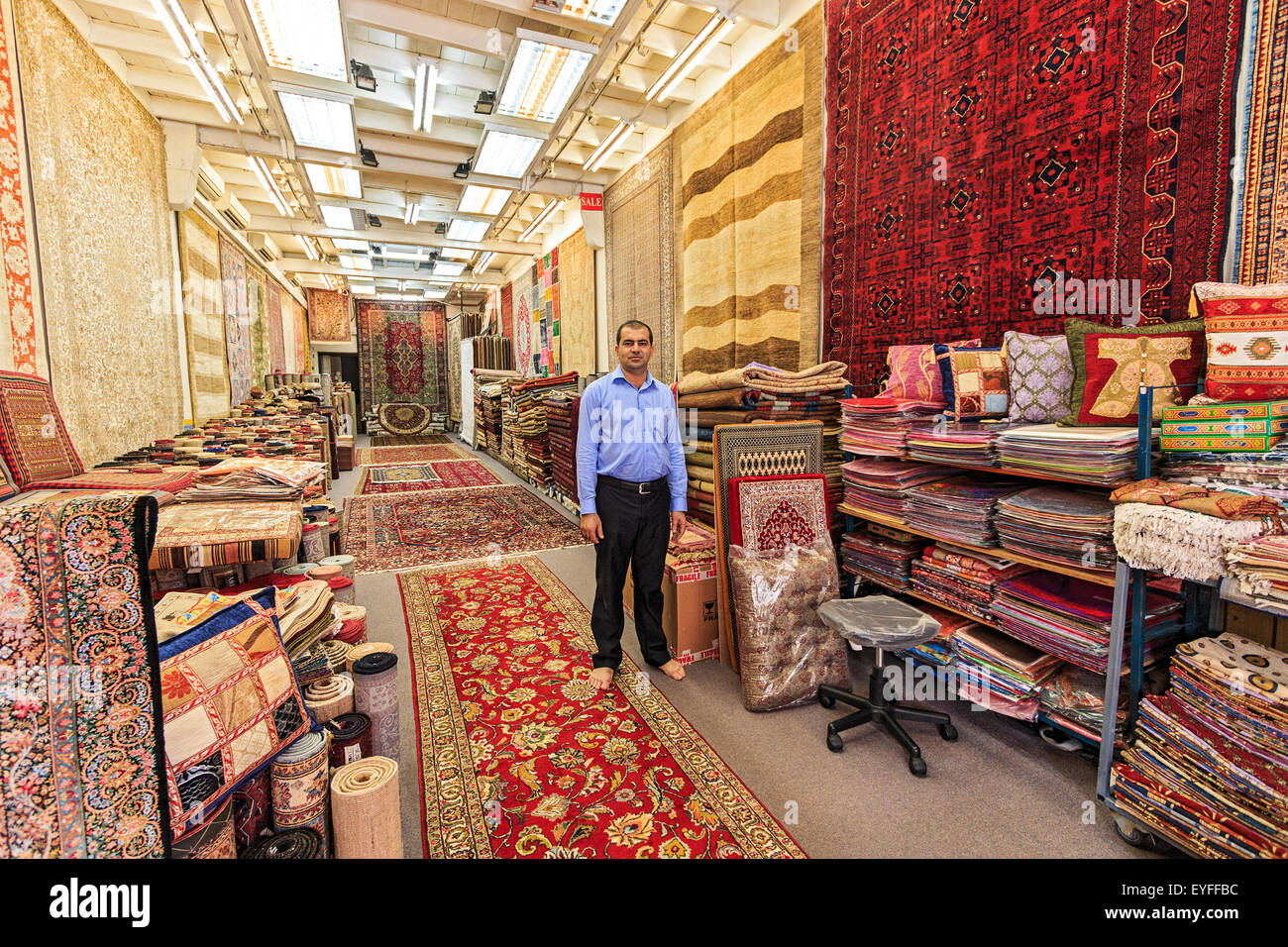 Rug shop in Singapore's Little India district. - Stock Image