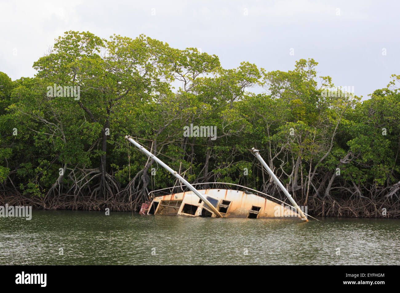 An abandoned and upturned yacht in Dickson Inlet, Port Douglas, damaged by Severe Tropical Cyclone Yasi in 2011 - Stock Image