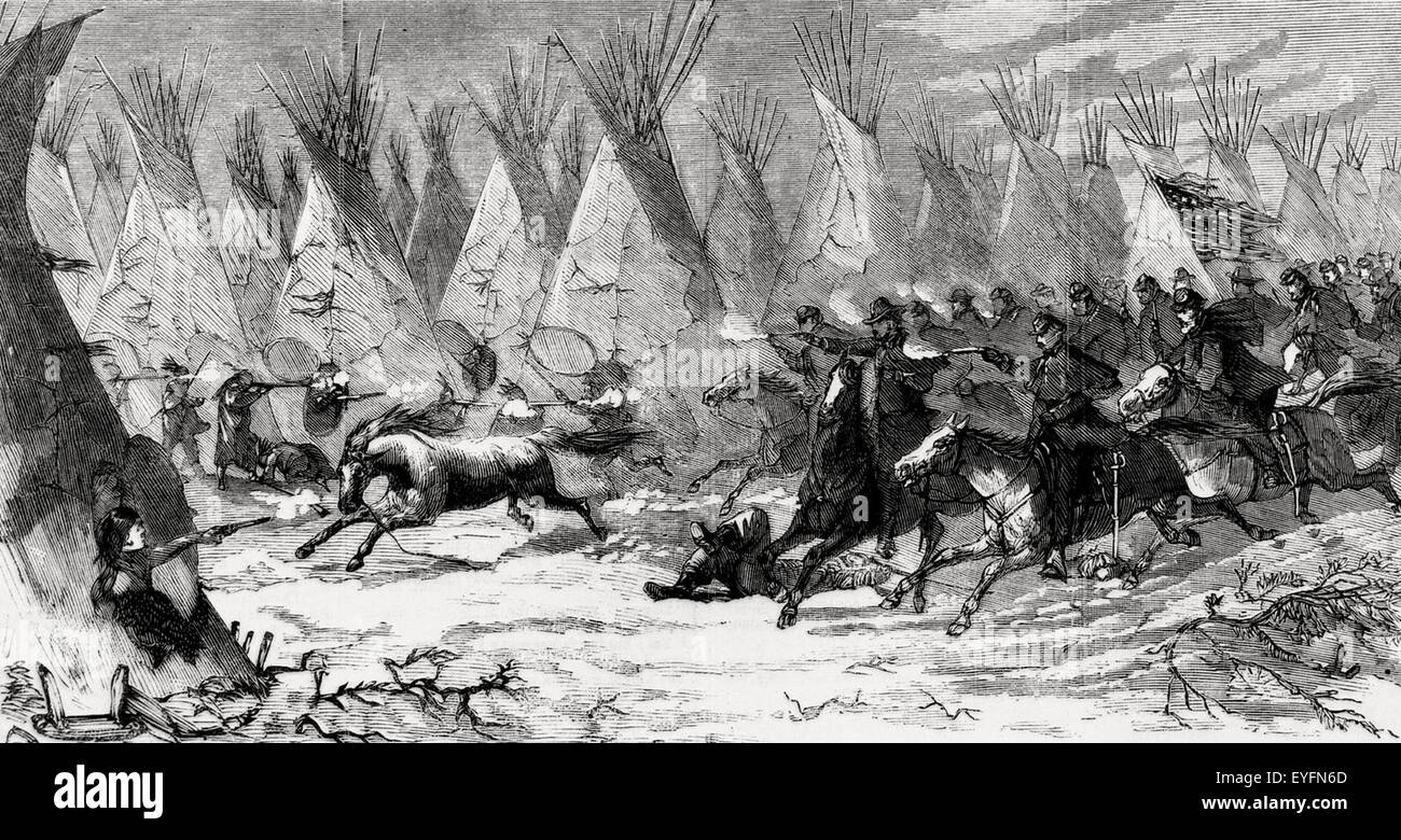 The Seventh US Cavalry charging into Black Kettle's Village at Daylight - The Battle of Washita River (also - Stock Image