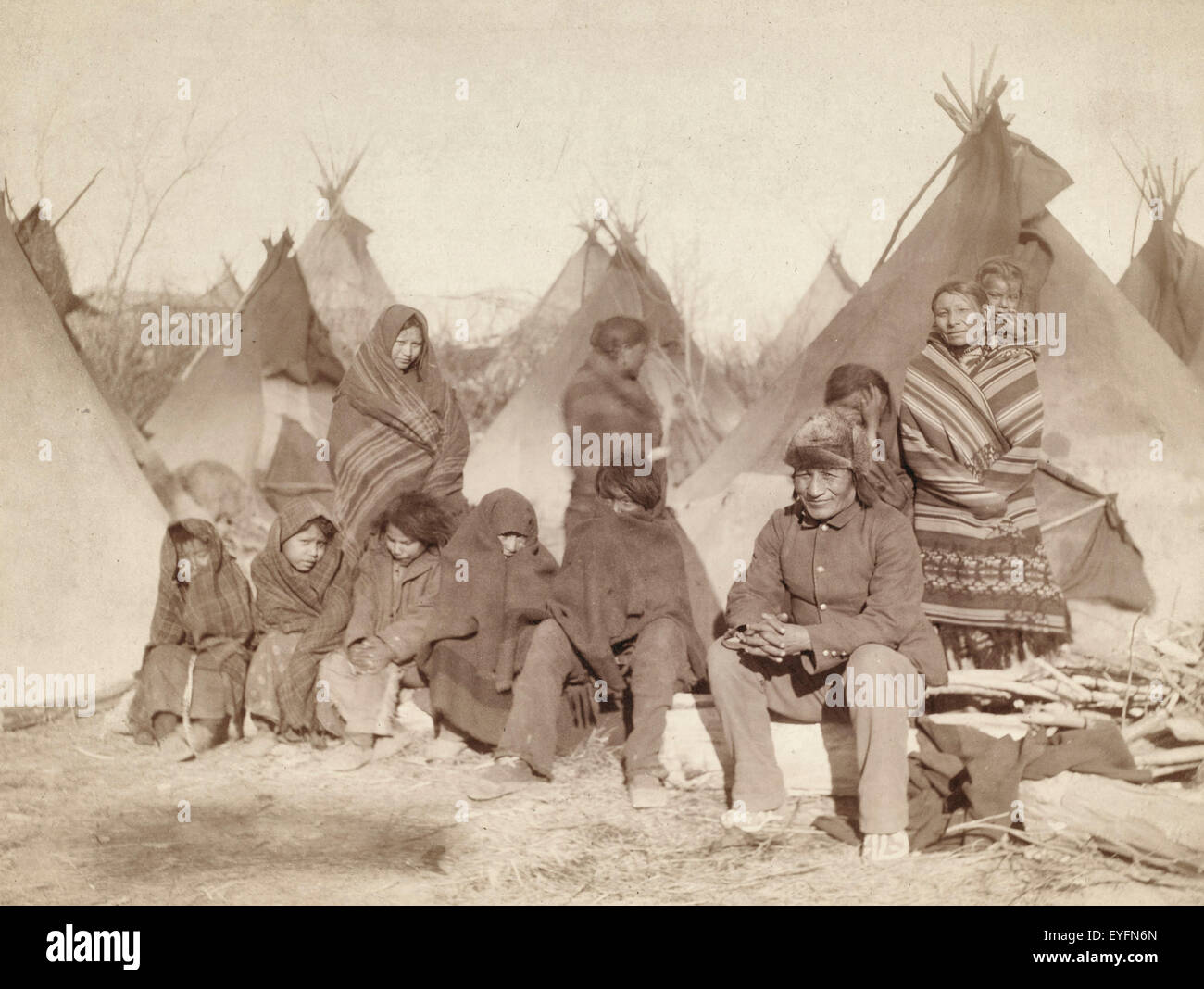 Survivors of Wounded Knee Massacre (Title: What's left of Big Foot's band). 1891 - Stock Image