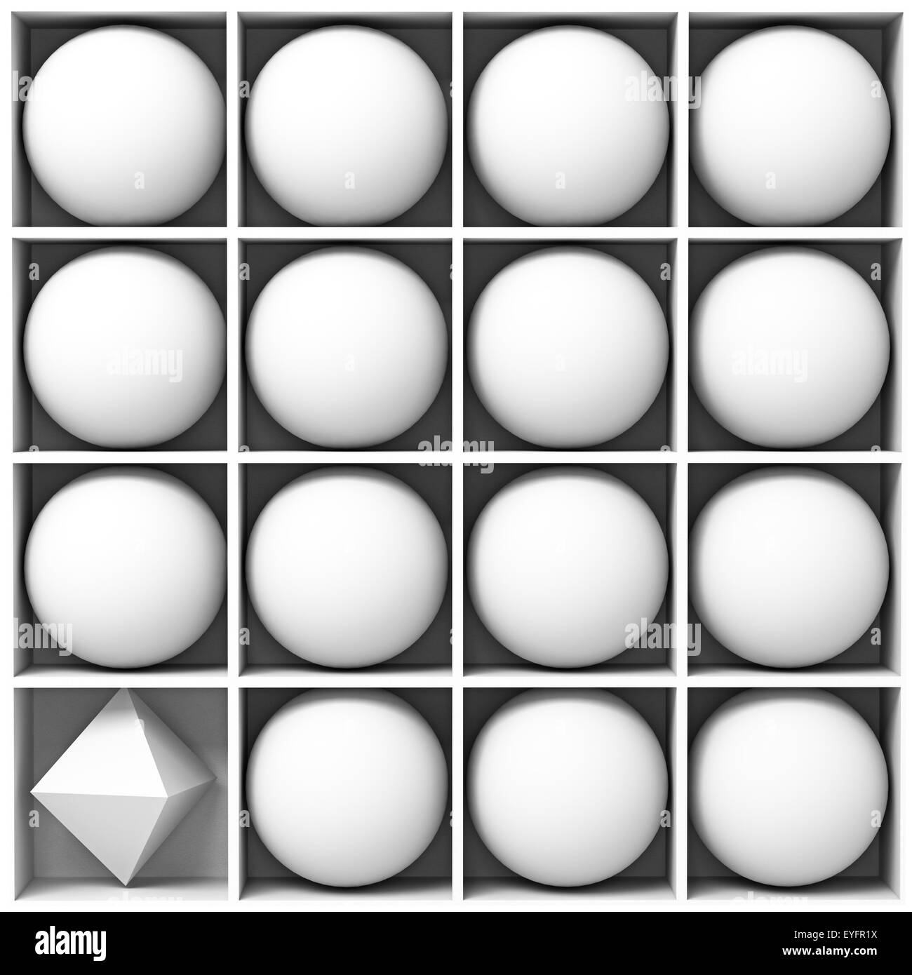 white geometric figures - Stock Image