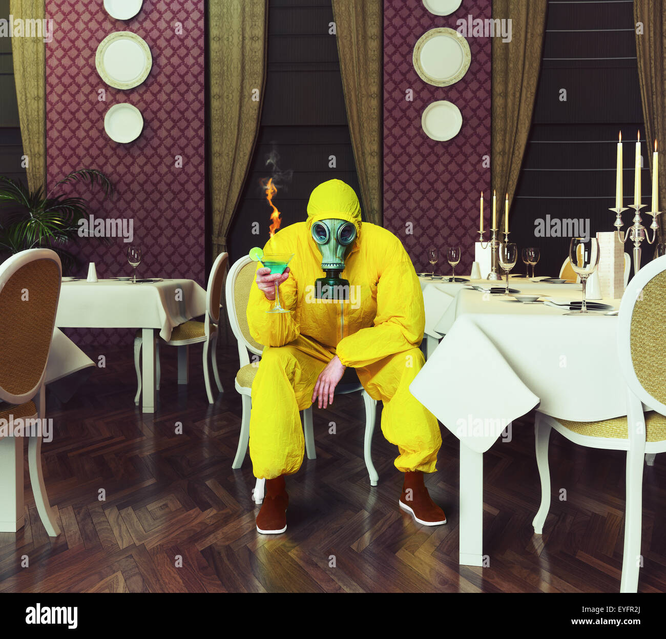 the man in a protective coverall - Stock Image