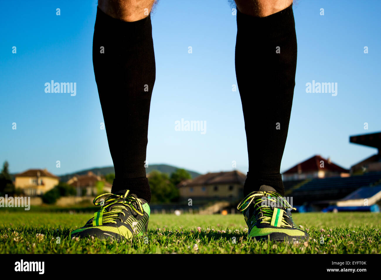 Soccer player getting ready for the game - Stock Image