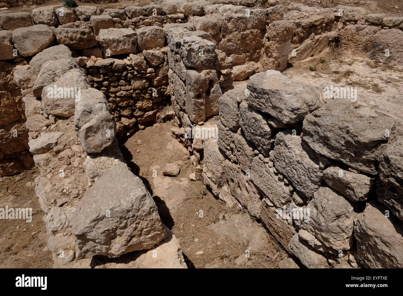 Ruins at the Susya or Susiya archeological site which bears remains both of a 5th–8th century CE synagogue and of - Stock Image