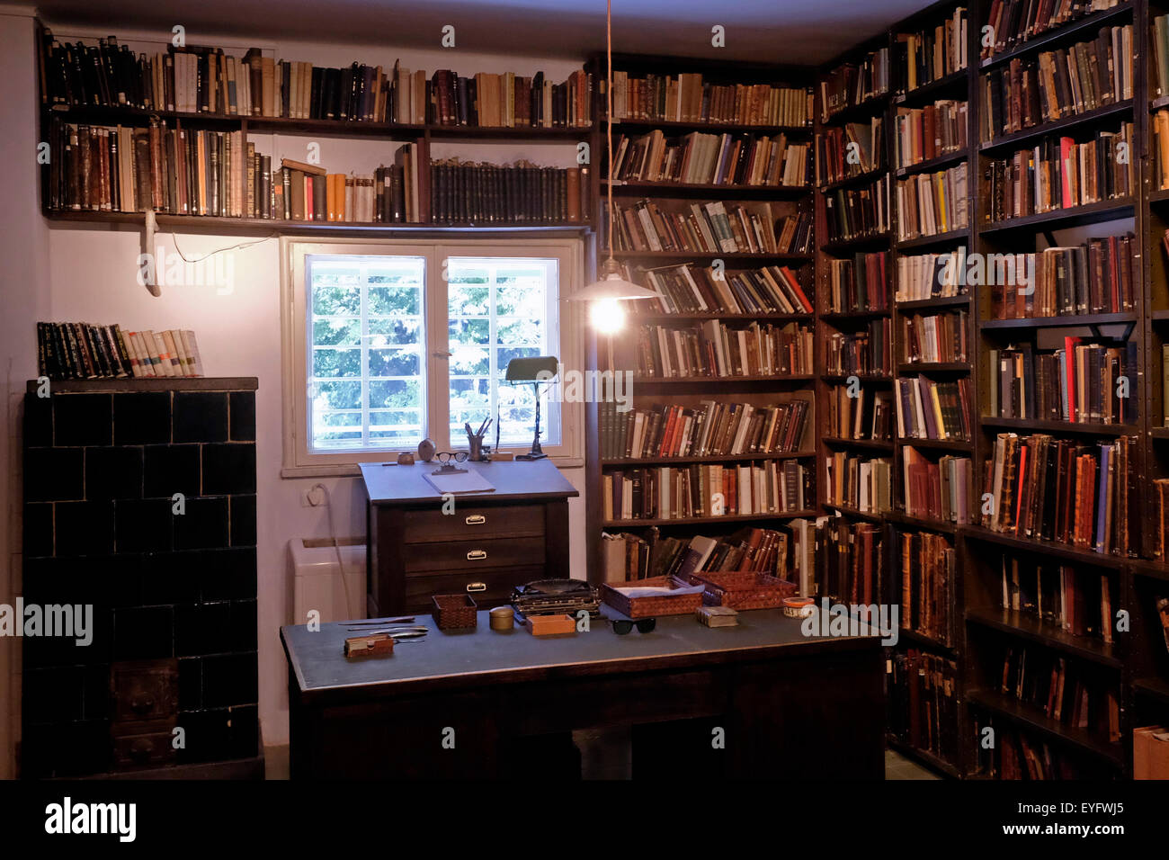 The reading room of the Nobel Prize laureate writer and one of the central figures of modern Hebrew Shmuel Yosef Stock Photo
