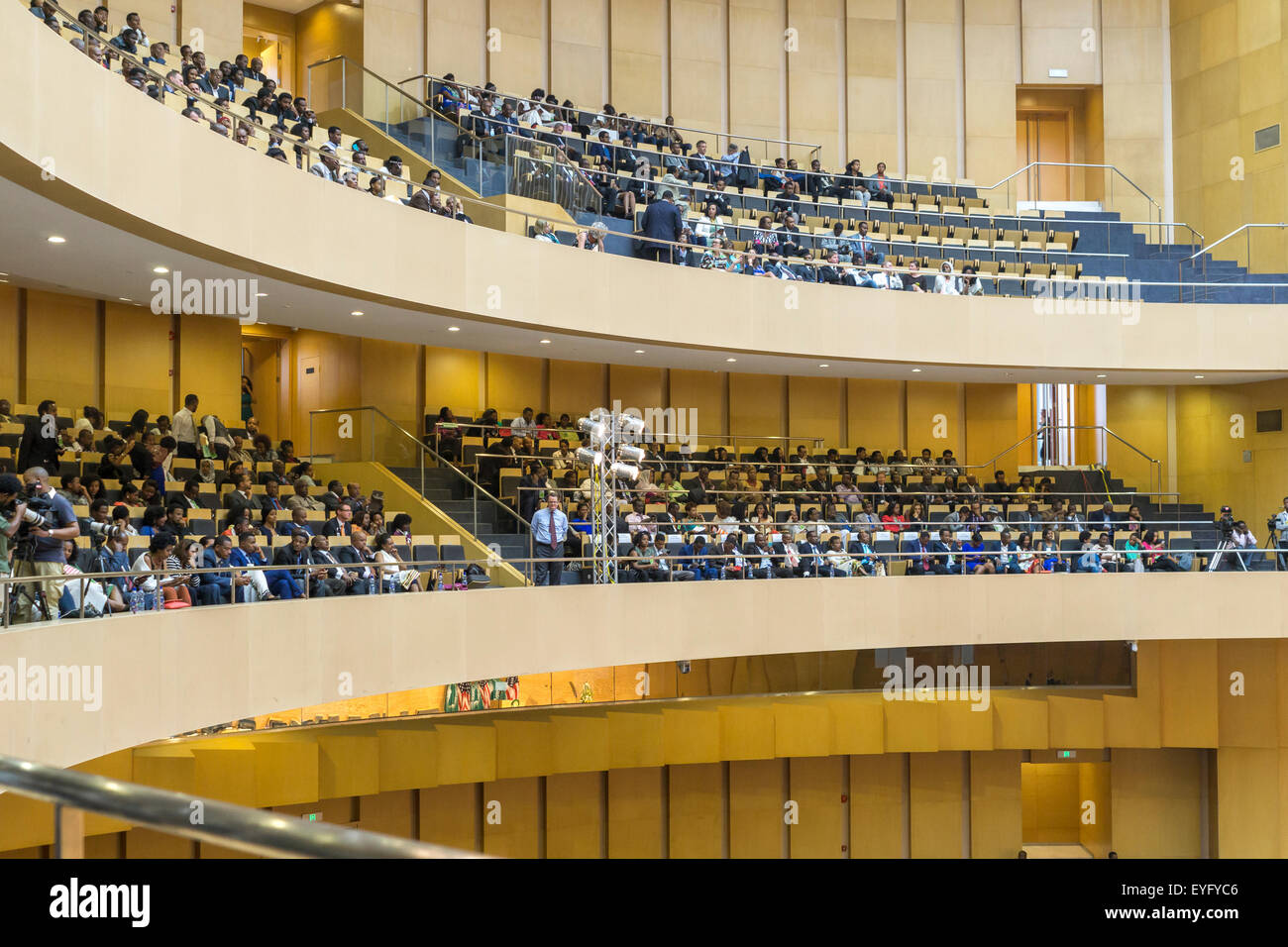 Addis Ababa, Ethiopia. 28th July, 2015. Nelson Mandela Hall of the AU Conference Centre was filled with a large - Stock Image