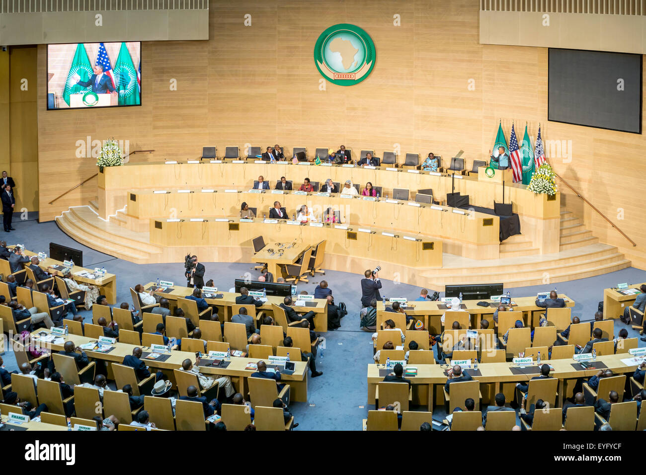 Addis Ababa, Ethiopia. 28th July, 2015. President Obama delivers a keynote speech to the African continent and its Stock Photo