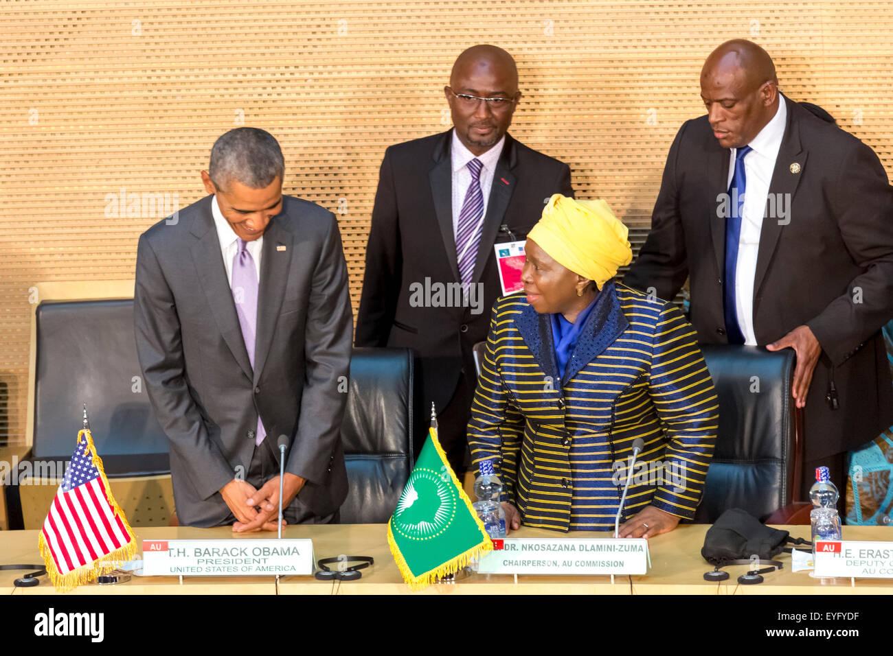 Addis Ababa, Ethiopia. 28th July, 2015. President Obama and Dr. Dlamini Zuma, take their designated seats at the - Stock Image