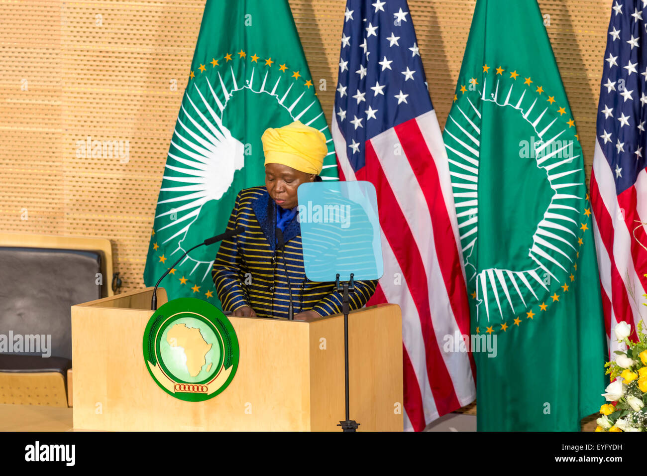 Addis Ababa, Ethiopia. 28th July, 2015. H.E. Dr. Dlamini Zuma, Chairperson of the AUC, delivers a keynote speech - Stock Image