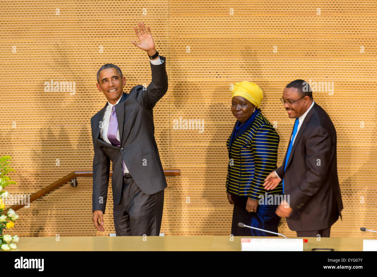 Addis Ababa, Ethiopia. 28th July, 2015. President Obama waves to the enthusiastic crowd attending his speech, on - Stock Image