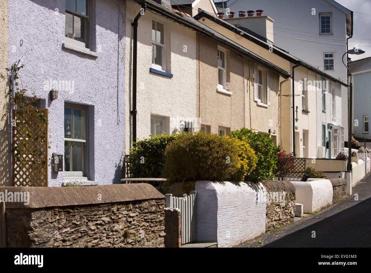 UK, Wales, Gwynedd, Aberdovey, Church Street, small fishermen's houses Stock Photo