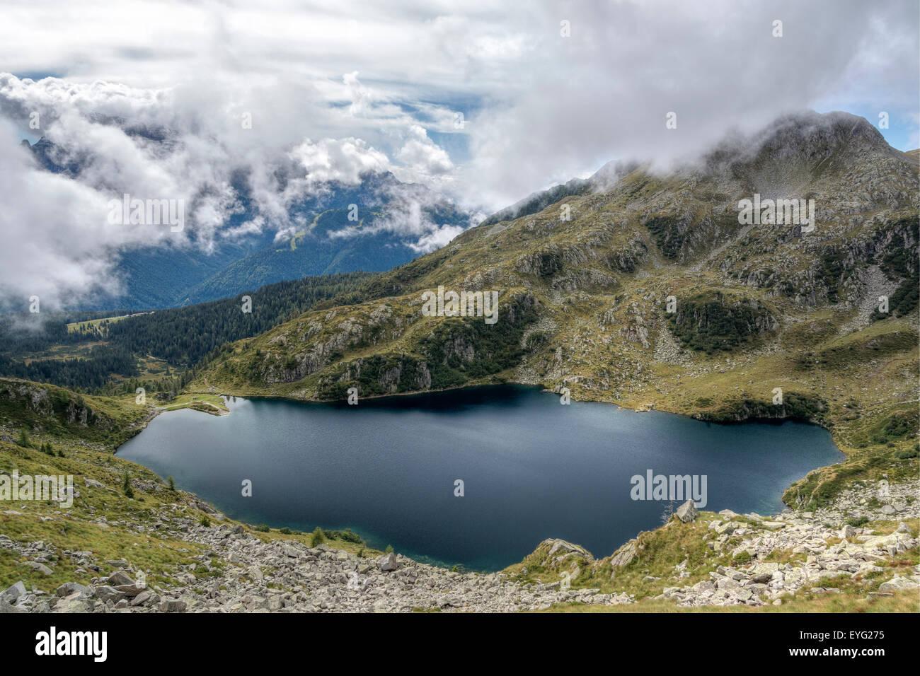 Italy Central Alps Trentino Adamello-Brenta Natural Park cinque laghi trail Lake Ritorto - Stock Image