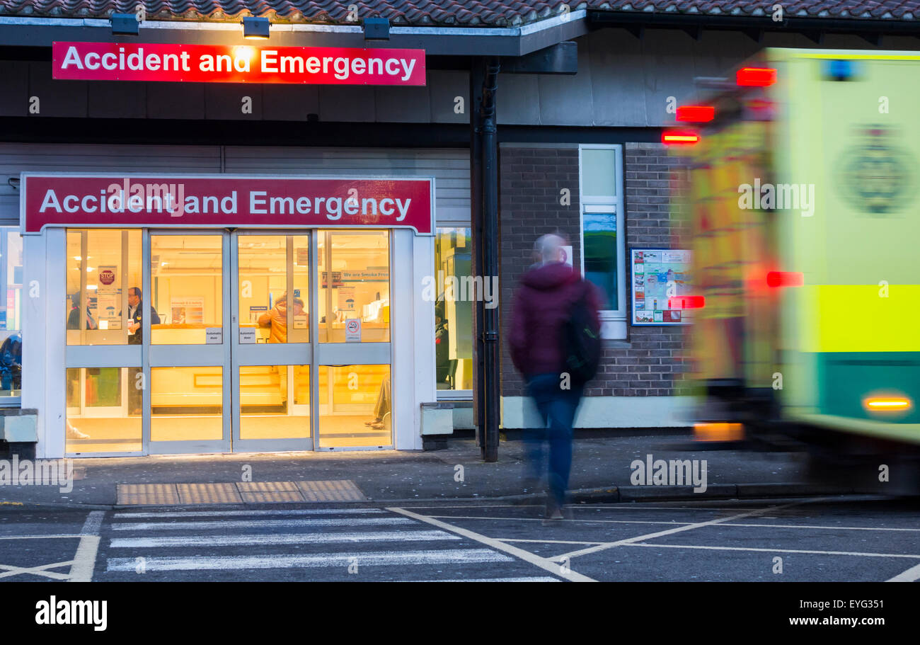 Accident and emergency entrance, North Tees hospital, north east England, UK - Stock Image