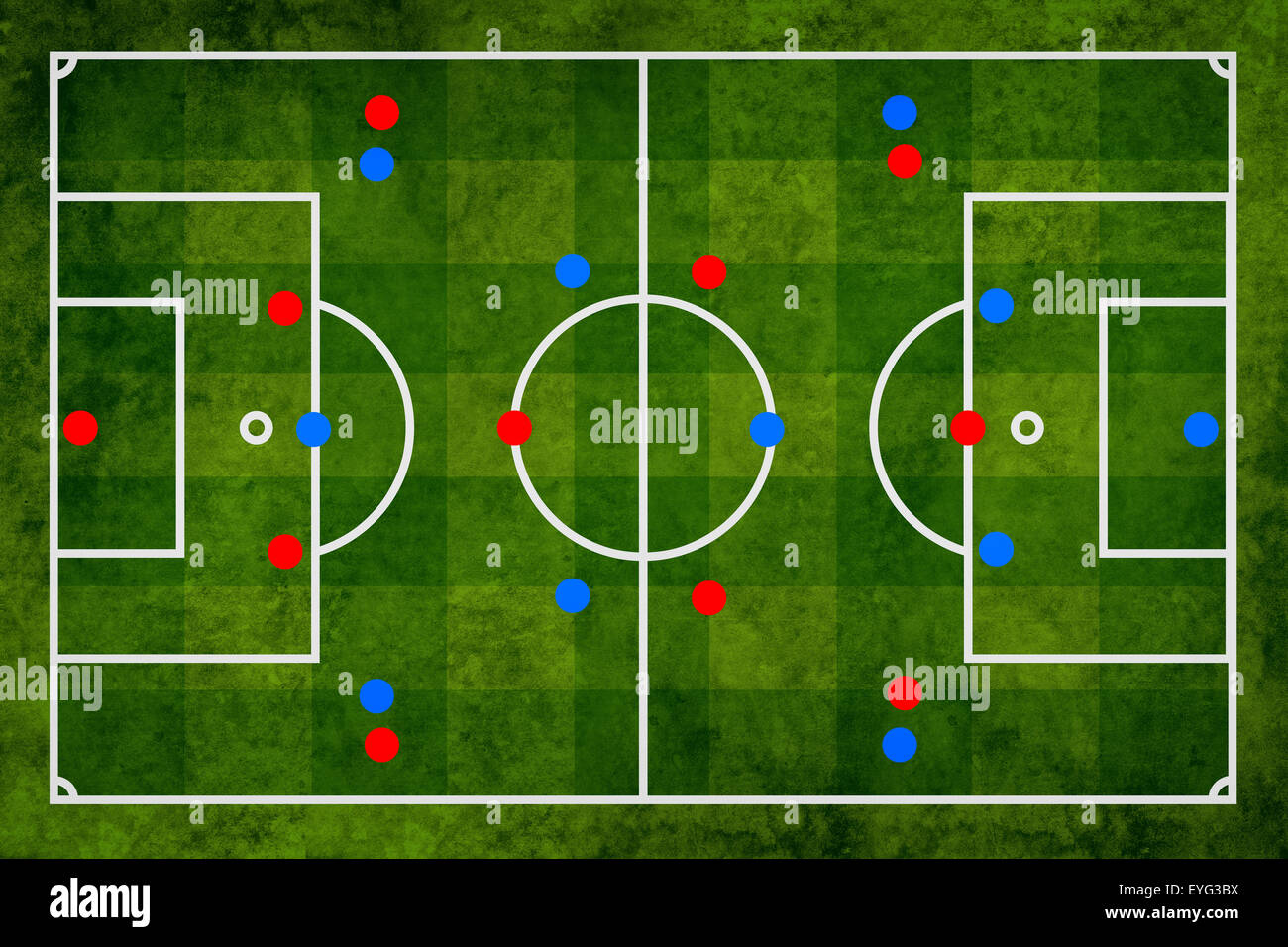 Soccer strategy and tactical preparation of the game, abstract scheme, football pitch illustration - Stock Image