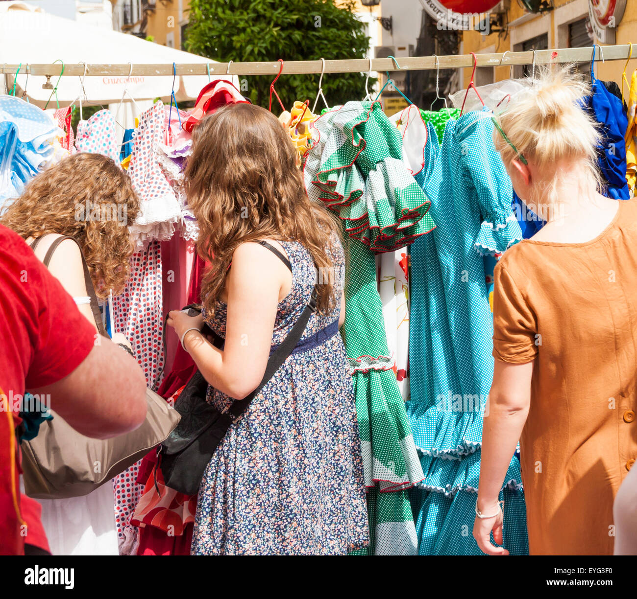 Secondhand Flamenco dresses on famous street Flea market in