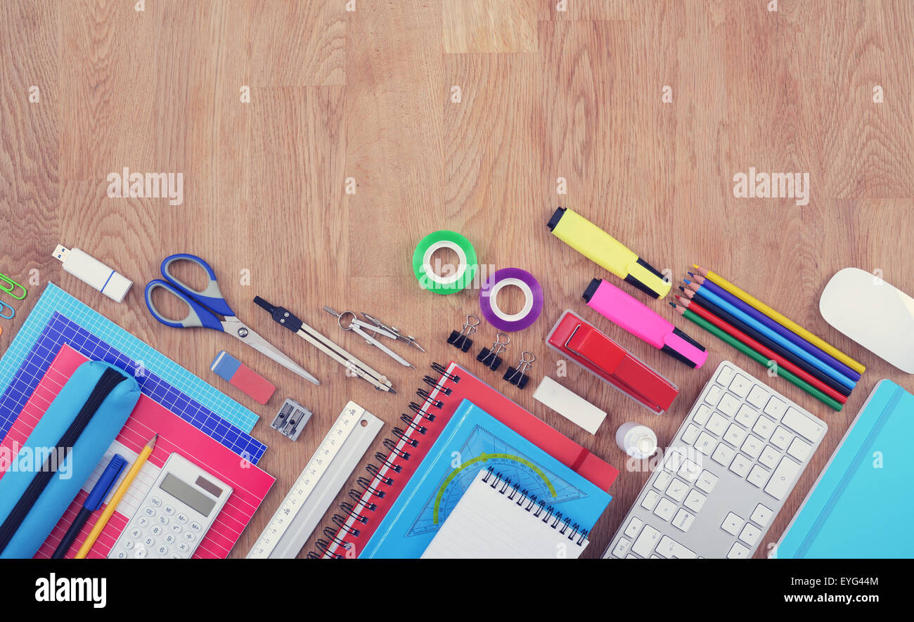 Back to school hero header with copy space top view - Stock Image
