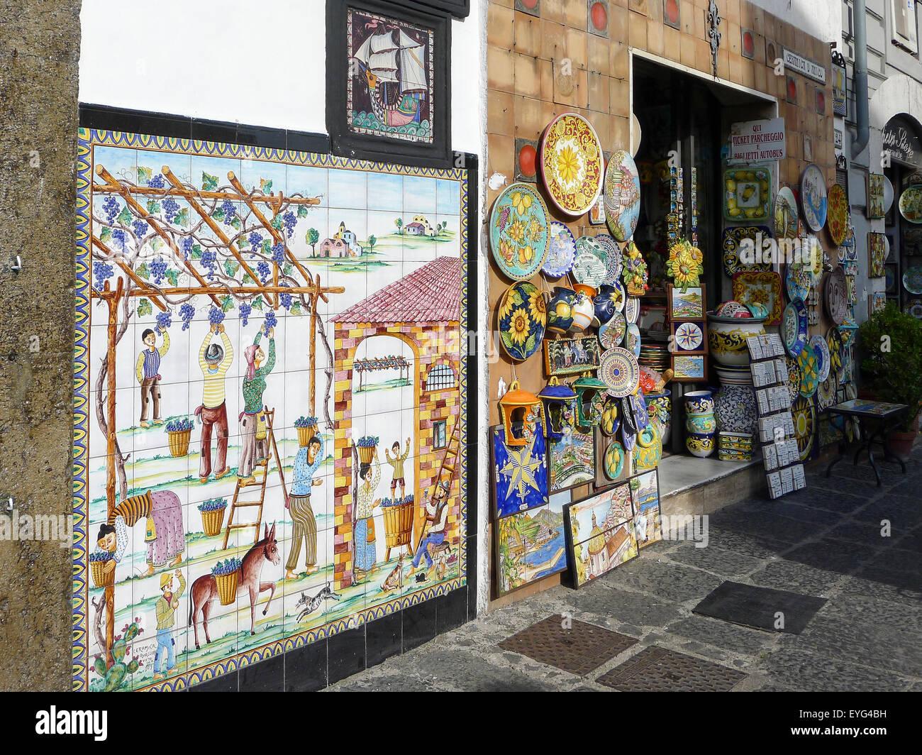 Italy, Campania, Amalfi Coast, Vietri sul Mare, Ceramics of the Amalfi coast Stock Photo