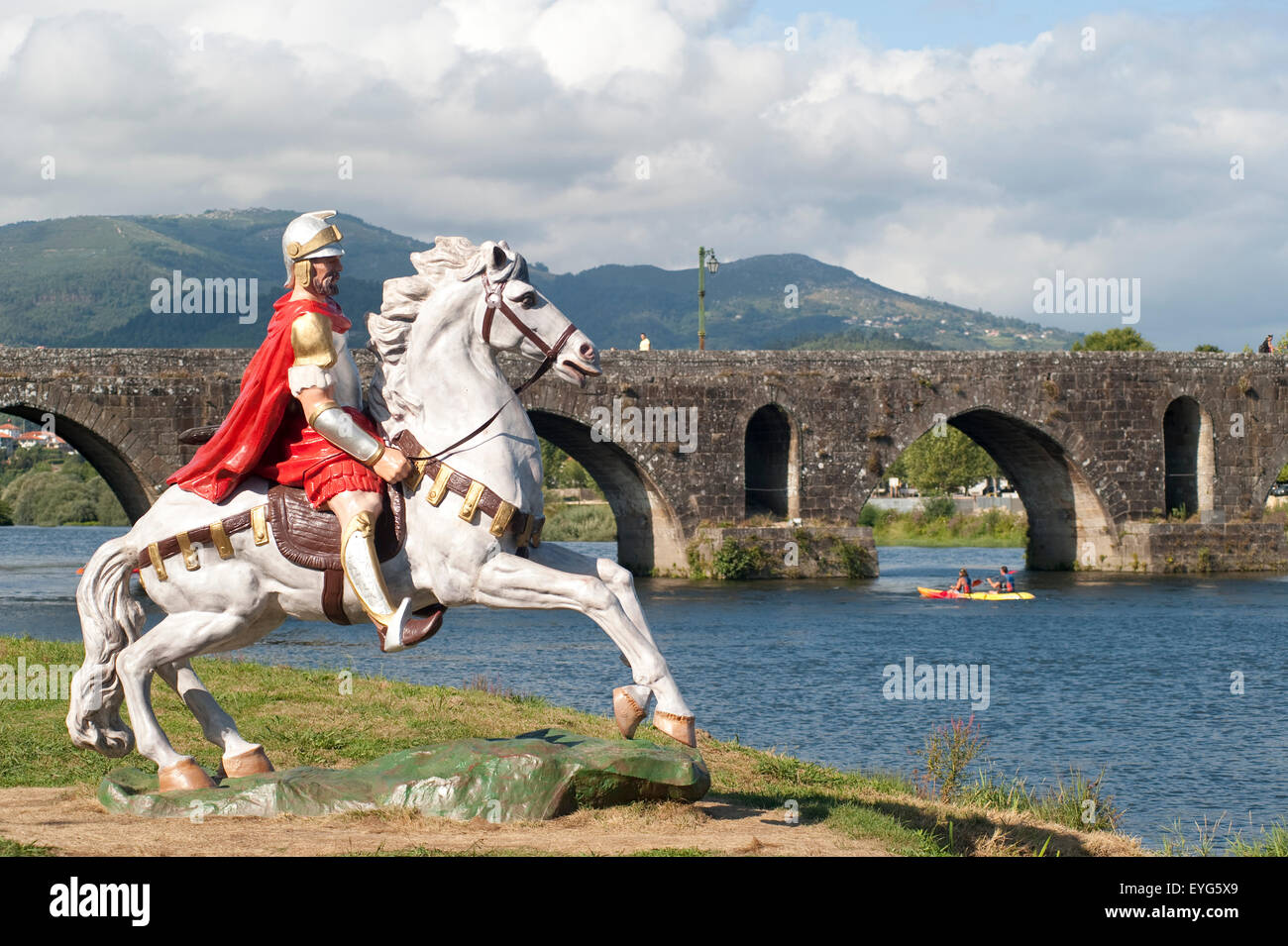 Roman Soldier From A Popular Legend Beside Rio Lima, Ponte De Lima, Portugal - Stock Image